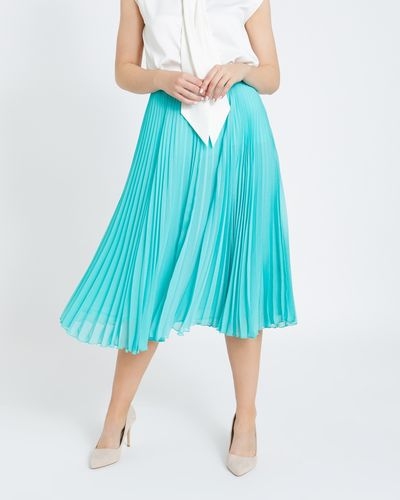 Paul Costelloe Living Studio Blue Pleat Skirt thumbnail
