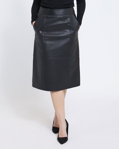 Paul Costelloe Living Studio Black Leather Skirt