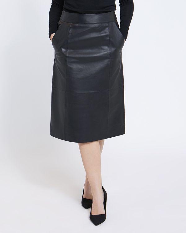 Paul Costelloe Living Studio Black Leather Skirt