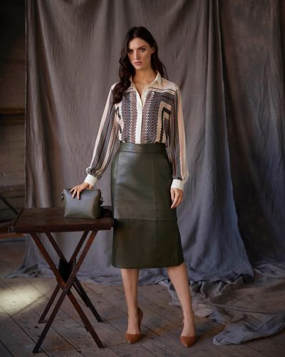 Paul Costelloe Living Studio Green Leather Skirt