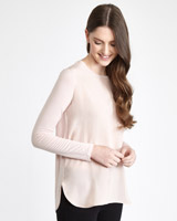 blush Paul Costelloe Living Studio Long-Sleeved Silk Top