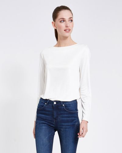 Paul Costelloe Living Studio Mercerised Boat Neck Top thumbnail