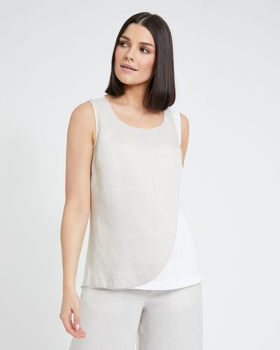 Paul Costelloe Living Studio Linen Stone Overlay Top
