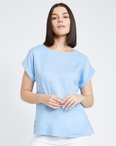 Paul Costelloe Living Studio Linen Blue Button Back T-Shirt