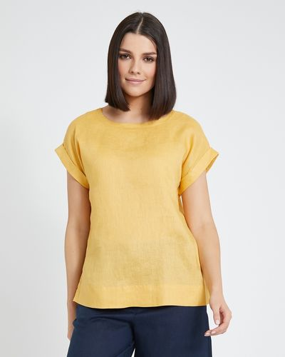 Paul Costelloe Living Studio Linen Ochre Button Back T-Shirt