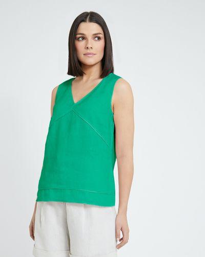 Paul Costelloe Living Studio Linen Green Vest