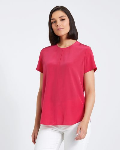 Paul Costelloe Living Studio Pink Silk V-Neck Top