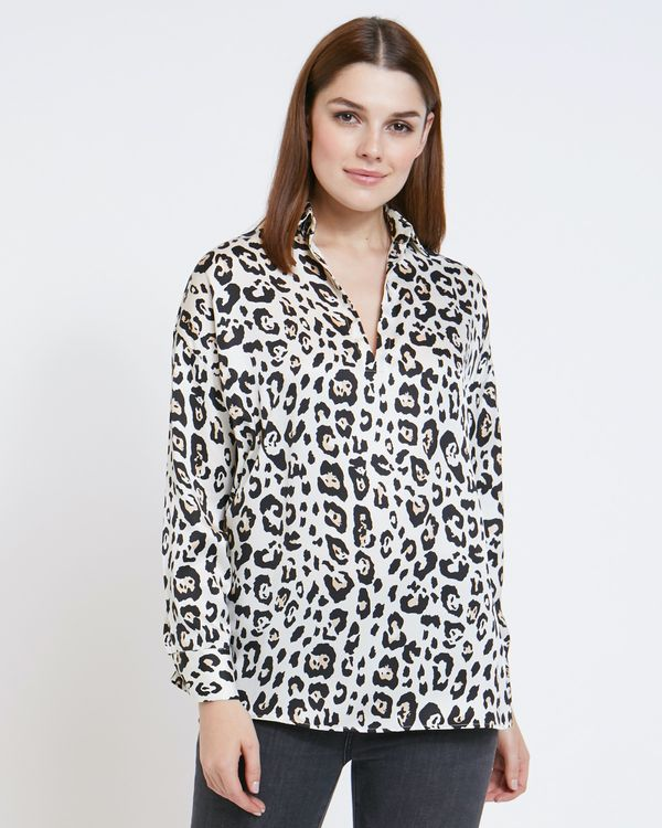 Paul Costelloe Living Studio Leopard Placket Top
