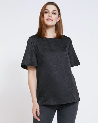 Paul Costelloe Living Studio Black Flute Sleeve Top