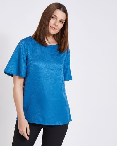 Paul Costelloe Living Studio Blue Flute Sleeve Top