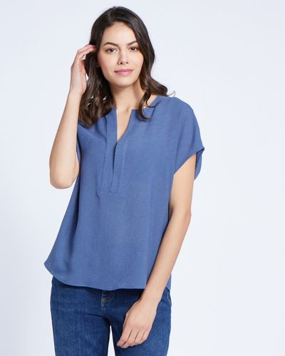 Paul Costelloe Living Studio Blue Half Placket Top