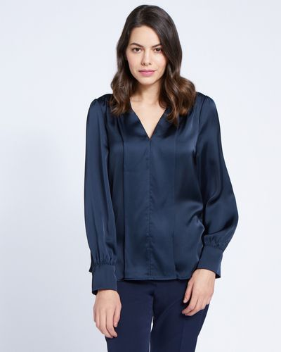 Paul Costelloe Living Studio Navy V-Placket Top