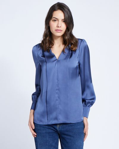 Paul Costelloe Living Studio Blue V-Placket Top