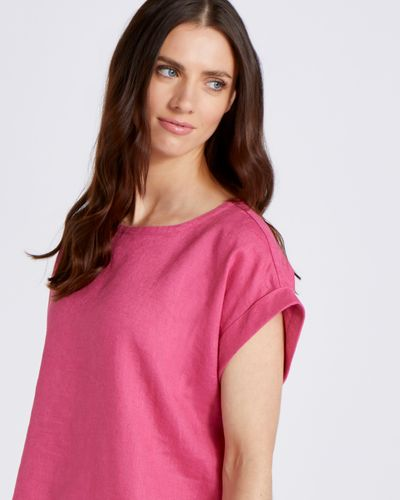 Paul Costelloe Living Studio 100% Linen Pink Button Back Top