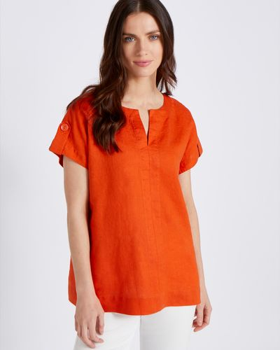 Paul Costelloe Living Studio 100% Linen Orange V-Neck Top