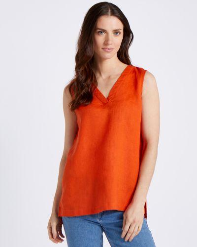 Paul Costelloe Living Studio 100% Linen Orange Vest