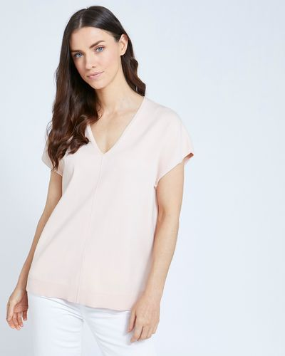Paul Costelloe Living Studio Blush Knit V-Neck Top