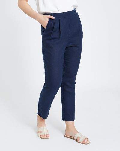 Paul Costelloe Living Studio Linen Navy Side Zip Trouser