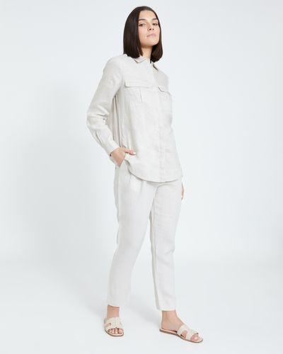 Paul Costelloe Living Studio Linen Stone Side Zip Trouser