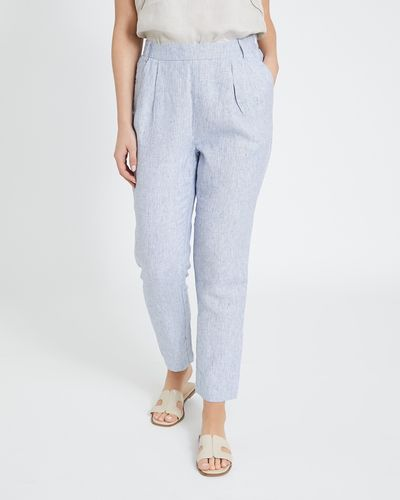 Paul Costelloe Living Studio Stripe Linen Side Zip Trousers