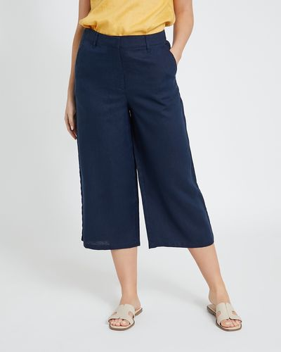 Paul Costelloe Living Studio Linen Navy Crop Trousers
