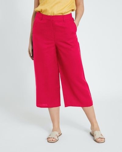 Paul Costelloe Living Studio Linen Pink Crop Trousers