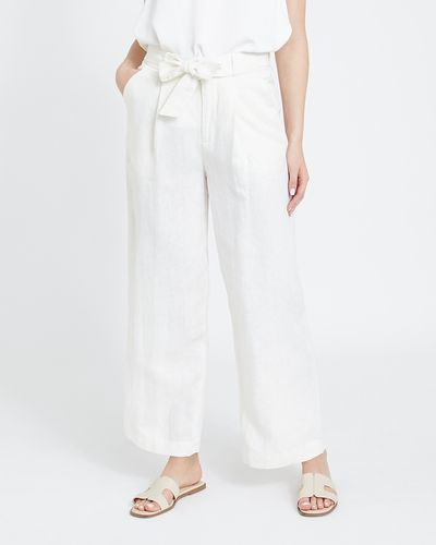 Paul Costelloe Living Studio Linen Cream Wide Leg Trousers