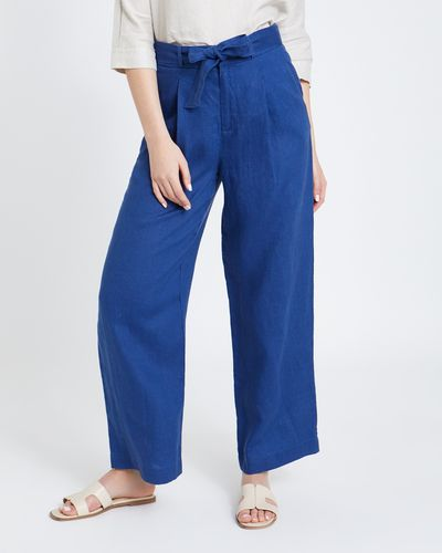Paul Costelloe Living Studio Linen Blue Wide Leg Trousers