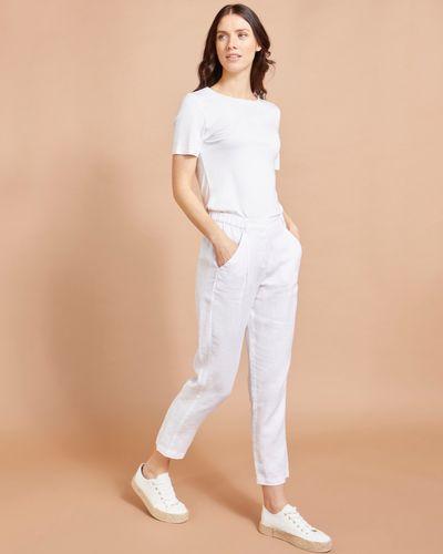Paul Costelloe Living Studio 100% Linen White Linen Straight Leg Trousers