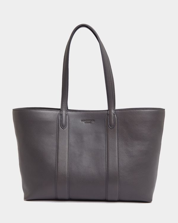 Paul Costelloe Living Studio Grey Leather Shopper Tote Bag