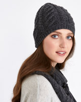 charcoal Paul Costelloe Living Studio Pure Merino Aran Beanie