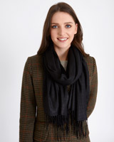 black Paul Costelloe Living Studio Croc Embossed Scarf