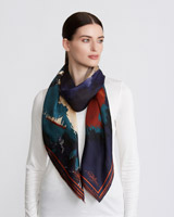 multi Paul Costelloe Living Studio Multi Floral Silk Scarf