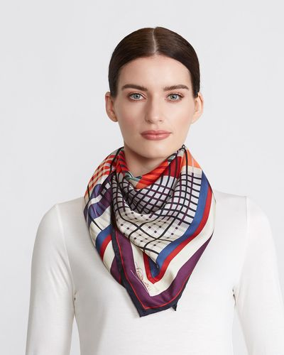 Paul Costelloe Living Studio Check Silk Scarf thumbnail