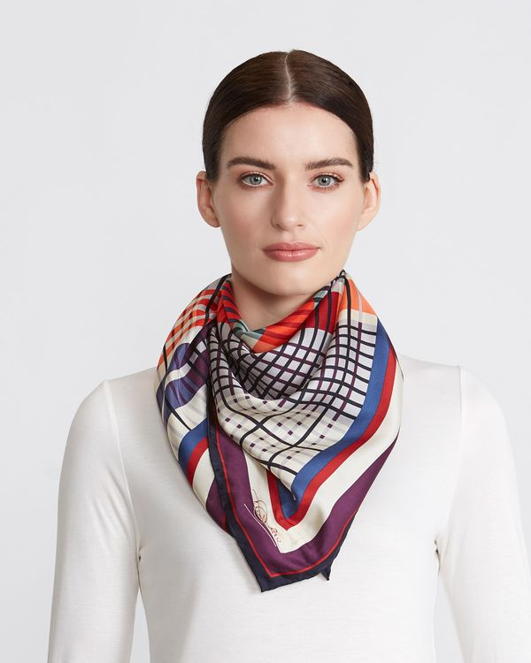 Paul Costelloe Living Studio Check Silk Scarf