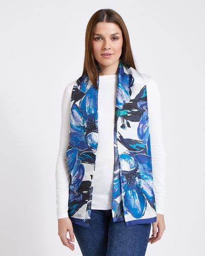 Paul Costelloe Living Studio Blue Floral Silk Scarf