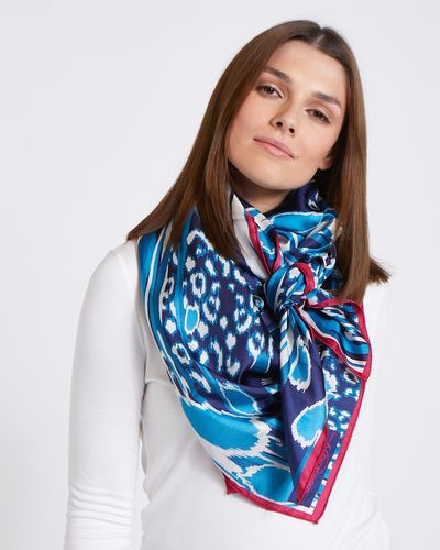 Paul Costelloe Living Studio Blue Abstract Silk Scarf
