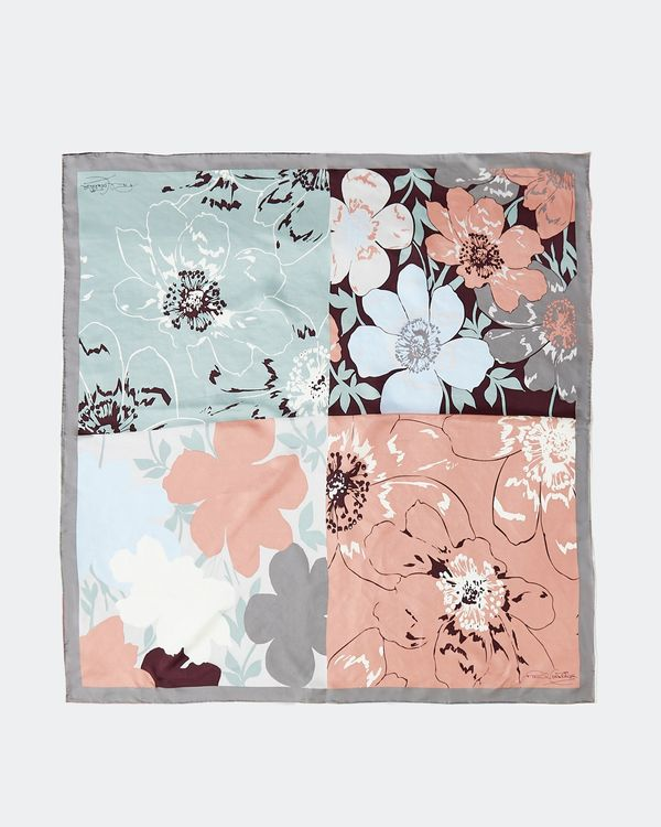 Paul Costelloe Living Studio Blue Floral Square Scarf