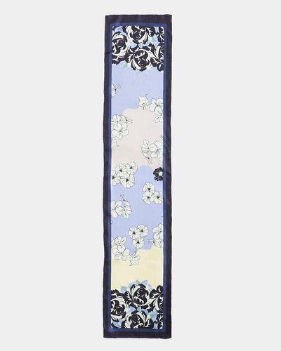 Paul Costelloe Living Studio Blue Long Floral Silk Scarf