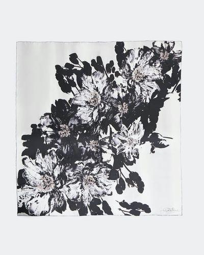 Paul Costelloe Living Studio Mono Floral Silk Scarf