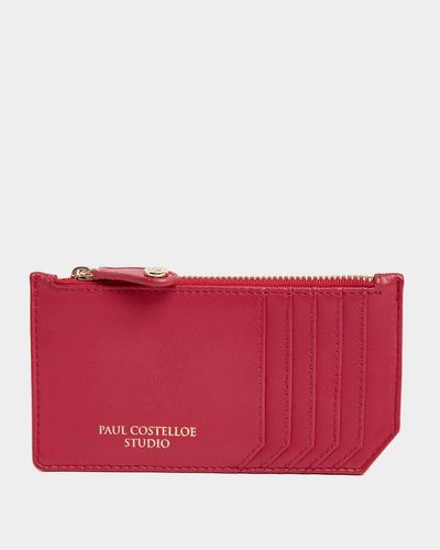 Paul Costelloe Living Studio Pink Leather Zip Card Holder