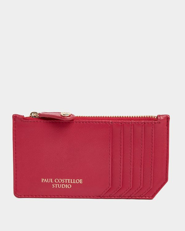 Paul Costelloe Living Studio Pink Leather Zip Card Holder