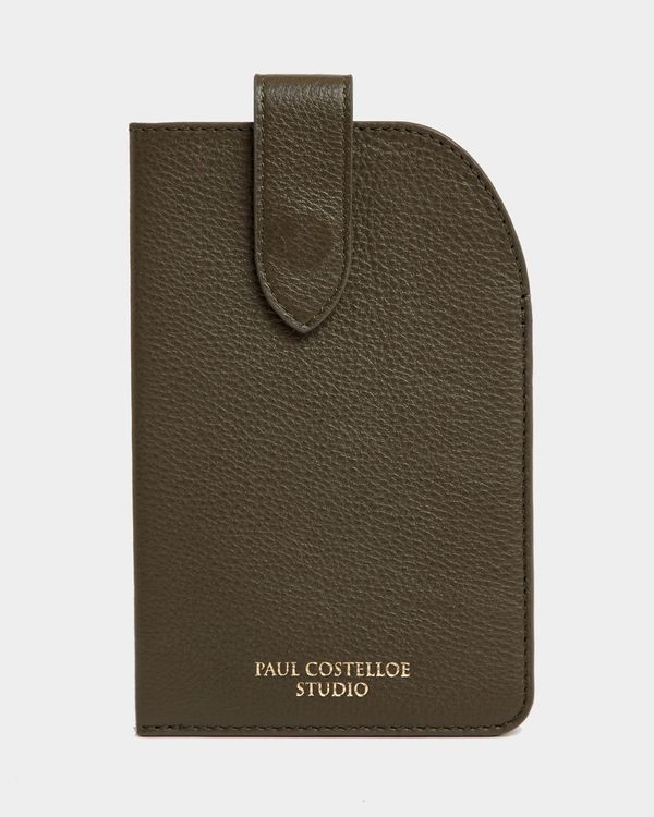 Paul Costelloe Living Studio Green Leather Glasses Case