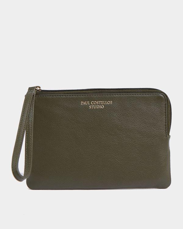 Paul Costelloe Living Studio Green Leather Wristlet Bag