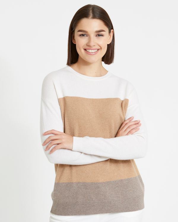 Paul Costelloe Living Studio Cashmere Colour Block Crew-Neck Sweater