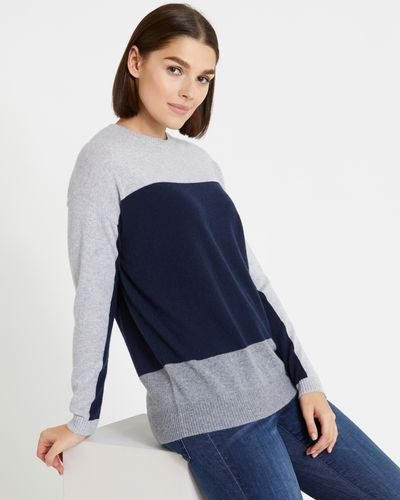 Paul Costelloe Living Studio Cashmere Colour Block Crew-Neck Sweater thumbnail