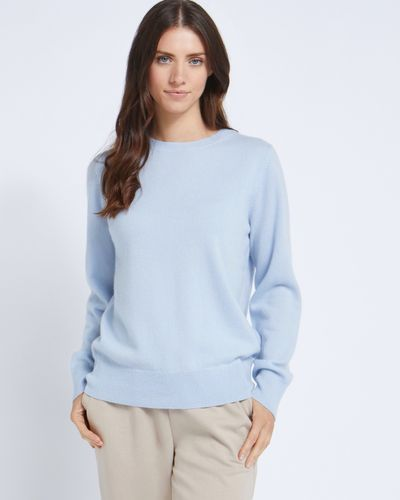 Paul Costelloe Living Studio Light Blue Cashmere Crew Neck Jumper thumbnail