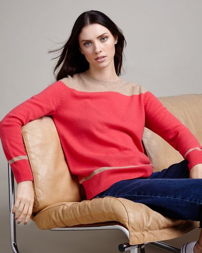 Paul Costelloe Living Studio Colour Block Crew Neck Jumper thumbnail