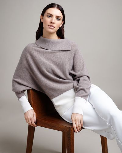 Paul Costelloe Living Studio Mink Cashmere Cowl Neck Jumper thumbnail