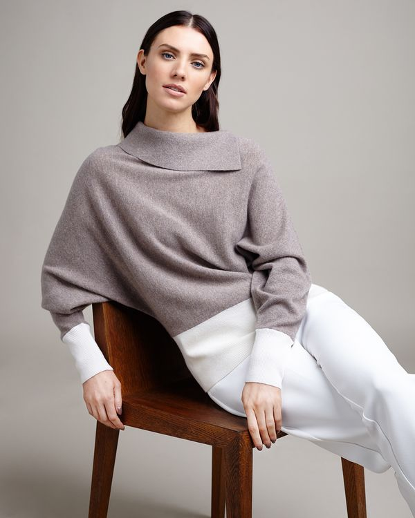 Paul Costelloe Living Studio Mink Cashmere Cowl Neck Jumper